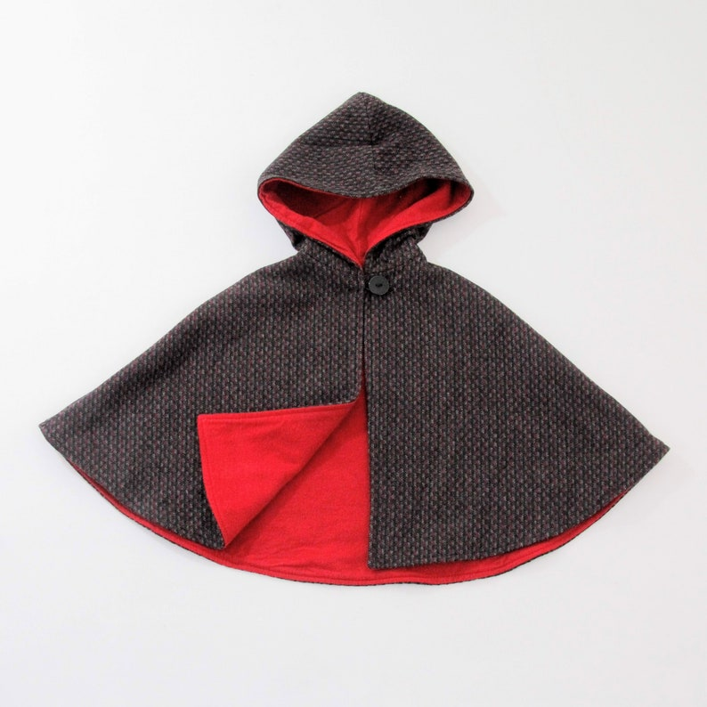 4587d472c677 6-12 Months or 2T Gray   Red Wool Hooded Cape for Girls or