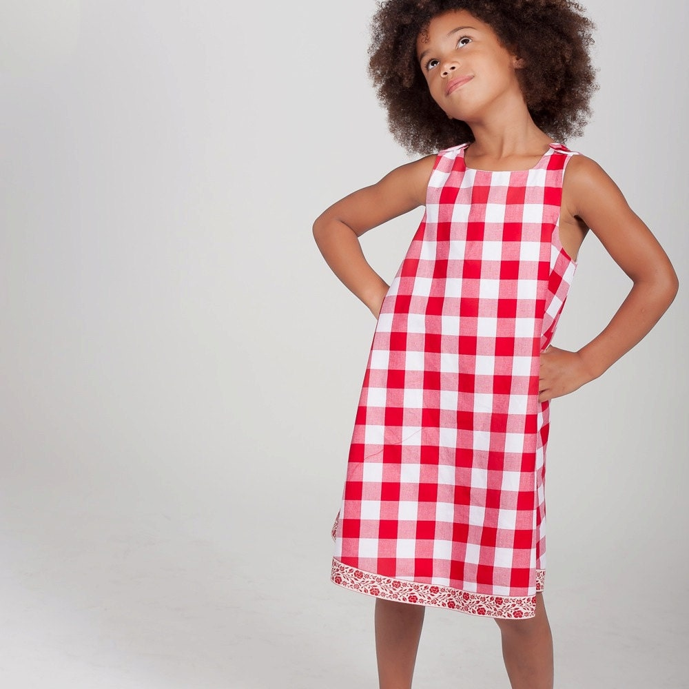 75a084aba1 Girls Red   White Gingham Plaid Dress Picnic Dress County