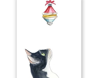 Cat & Ornament Card