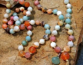 Sale/Happy Energy Mala/108 Bead Gemstone Wrap Bracelet/Necklace/Pink&Orange Agate/White Shell/Amazonite/Pink Rhodonite/Personal Power/Luck