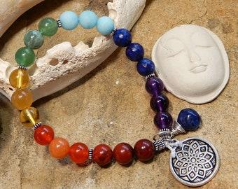 Sale/7 Seven Chakra Bracelet/Sterling Silver/Mala Bracelet/AAA Natural Gemstones/Stacking Bracelet/Chakra Balancing Healing/Yoga/Meditation