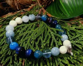 Sale/New Moon Crystal Bracelet/Moonstone Birthstone/Fluorite/Apatite/Aquamarine/Tiger Eye/Sterling Silver/Peace/Intuition/Stack Bracele