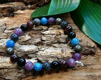 Sale/Peaceful Protection Mala Bracelet/Sterling Silver/Blue Black Labradorite/Blue Kyanite/Red Garnet/Stacking Bracelet/Yoga/Meditation