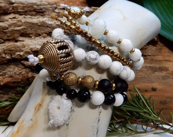Sale/Black White and Gold 5 Stack Bracelet Set/5 Piece Bracelet Set/Positive Divine Feminine Energy/Achieving goals/Protection/Yoga Bracelet