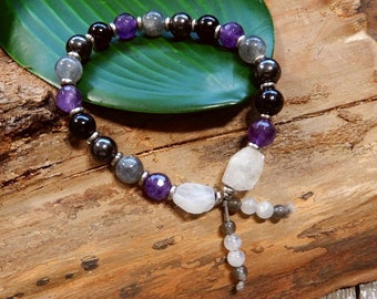 Sale/Empath Protection Mala Bracelet/Sterling Silver/Blue Black Tiger Eye/Labradorite/AAA Gemstones/Stacking Bracelet/Yoga/Meditation