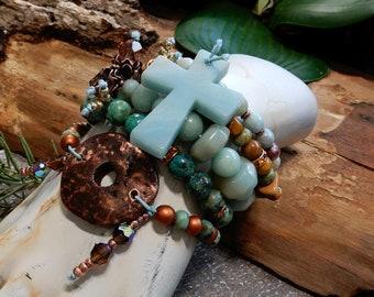 Sale/Blue Amazonite Gemstones/ Gold Australian Mooakite 5 Stack Bracelet Set/5 Piece Bracelet Set/Grounding/Peace/Truth/Hope/Stability/Yoga