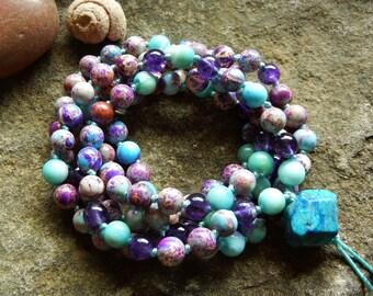 Sale/Living on Island Time 108 Gemstone Bead Mala/Purple Wrap Bracelet/Crystal Necklace/Cleansing/Peace/Amethyst/Amazonite/Meditation/Yoga