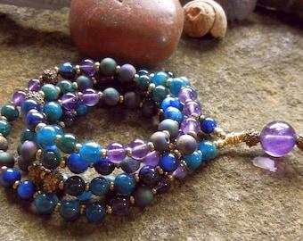 Sale/Kauai Island Water Lily 108 Bead Gemstone Mala/Blue Purple Wrap Bracelet/Necklace/Peace/Focus/Intuition/Clarity/Relaxation/Meditation