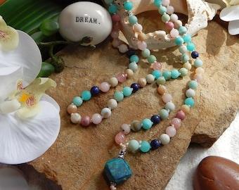 Power of Love Mala/Madagascar Rose Quartz/108 Bead Gemstone Crystal Mala/Amazonite/Wrap Bracelet/Necklace/Grounding/Meditation/Yoga,