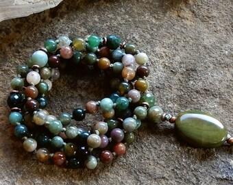 Sale/Island Jungle Wrap Bracelet/108 Gemstone Mala,Fancy Jasper Necklace,Olive Green,Harmony,Cleansing,Grounding,Meditation