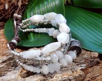 Sale/Moonstone Goddess 3 Strand Bracelet/Hill Tribe Sterling Silver/Divine Feminine Energy/Purity/Protection/Yoga