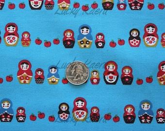 SALE Kawaii Japanese Matryoshka Apple Row Blue Fabric - Half Yard