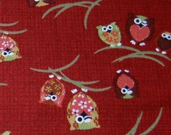 Japanese Owls on Red Japanese Fabric - Half Yard