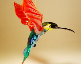 Blown Glass Figurine Bird Hanging Blue Yellow /& Red Head HUMMINGBIRD Ornament