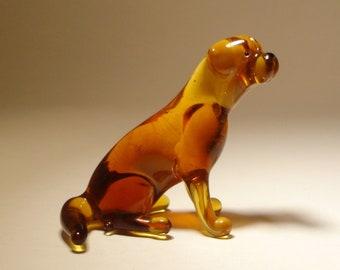 Handmade Blown Glass Dog Sitting  Brown Lab Labrador Retriever Figurine