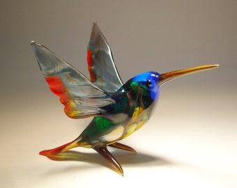 Handmade Blown Glass Art HUMMINGBIRD Bird Figurine with a Blue Head and Red Trim