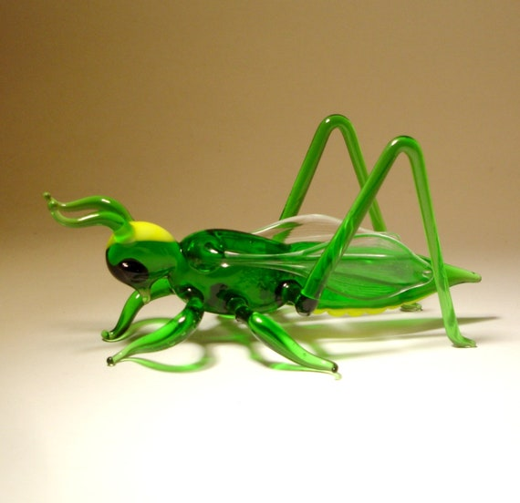 Blown Glass Art Figurine Green Insect Cricket GRASSHOPPER