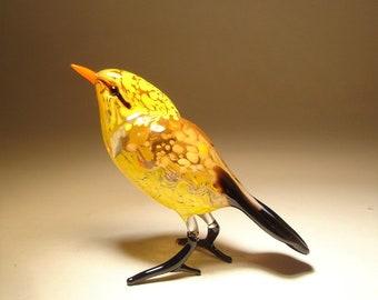 Handmade  Blown Glass Figurine Art Yellow  Bird Figurine