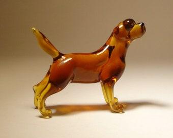 Handmade Blown Glass Dog Brown Lab Labrador Retriever Figurine