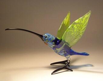 Handmade Blown Glass Figurine Art Bird Blue and Green HUMMINGBIRD with a Long Beak