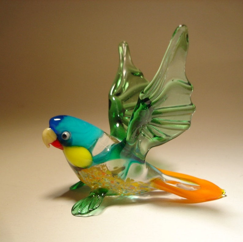 Blown Glass Murano Art Figurine Animal Figurine Bird Green-Blue Parrot