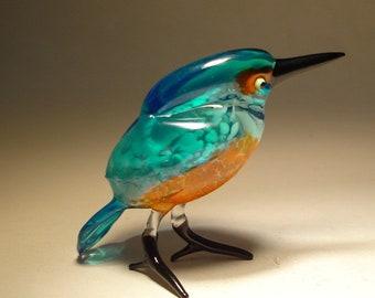 Handmade  Blown Glass Figurine Art Blue and Orange Kingfisher Bird Figure