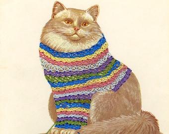 Smitten with a knittin' kitten.  Limited edition collage print by Vivienne Strauss.