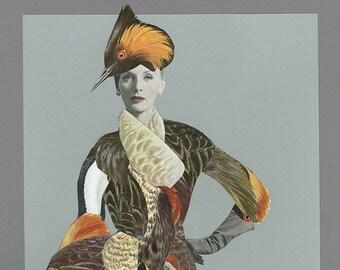 Grèbe élégant. Original collage by Vivienne Strauss.