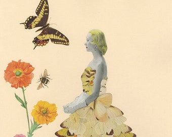 Float like a butterfly, sting like a bee. Original collage by Vivienne Strauss.