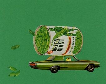 Gertie's mean, green bean machine.  Original collage by Vivienne Strauss.