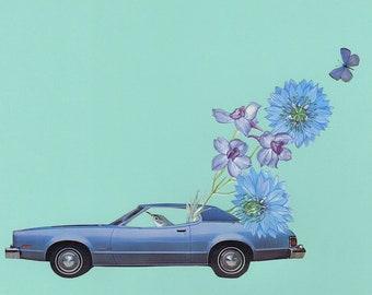 On the blue highway. Original collage by Vivienne Strauss.