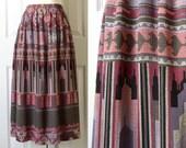 Vintage Ethnic Kilim Print Full Midi Skirt Sz Medium