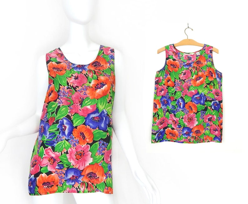 9e43931c2416de Vintage 80s Bright Floral Print Sleeveless Silk Blouse Size