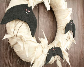 "Primitive Halloween Wreath – 12"" Fabric Wreath with Bats - Fall Indoor Decor - Front Door Halloween Wreath"