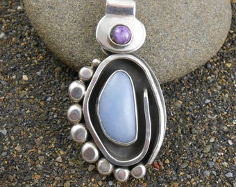 Handmade Sterling Stunning Handcrafted Excellent Craftsmanship Sugilite Pendant Vintage Hinged Bail 950 Chalcedony Gift For Her