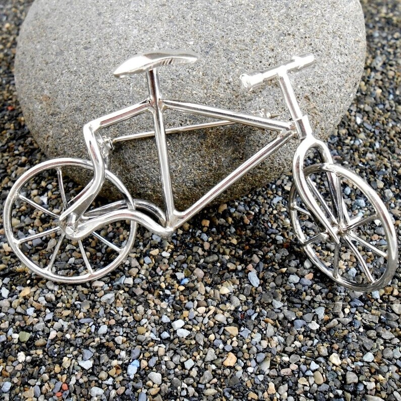 Vintage Sterling Bicycle Movable Bike Pin 3.25 inches Taxco Mexico
