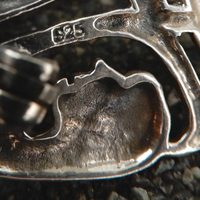 Tessellation Modernist Sterling Silver Populuxe Vintage Brooch Men Circle Pin After MC Escher