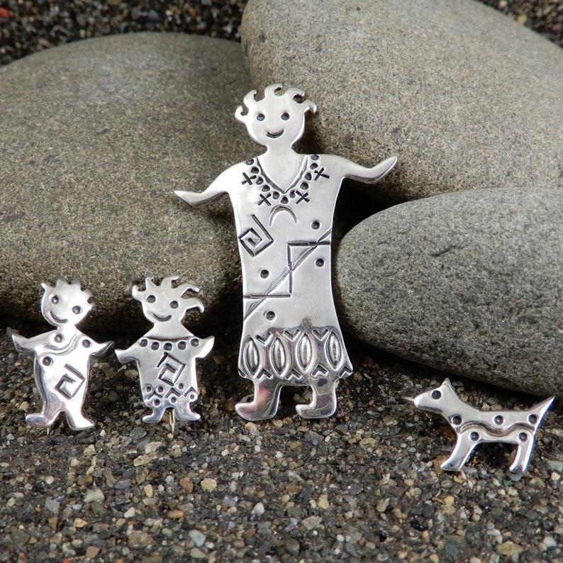 Native Beliefs Spirit Being Set of 4 Native Culture Ethnic Scatter Pins Kachina Pins Pueblo Myth Sterling Vintage Mom Kids Dog