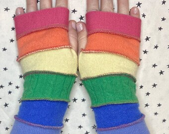 Fingerless gloves - hand warmers - wrist warmers - pastel rainbow stripes, gloves, up cycled, new use of secondhand cashmere, wool sweaters.