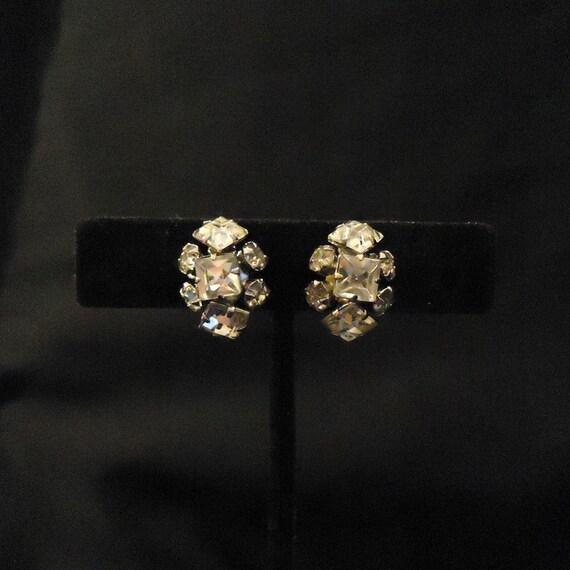 Vintage SIGNED Earrings  CORO  Screw Back  Purple  Gold  Small  Elegant  Rhinestones  Bridal  Wedding  Statement  50s