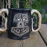 RSEERVED--Handmade stoneware Mjolnir goat-horn stien