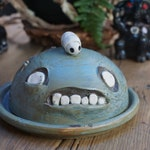 hand thrown, ceramic,  Zombie butter dish