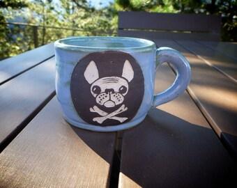 Stoneware Sgraffito French Bulldog Mug