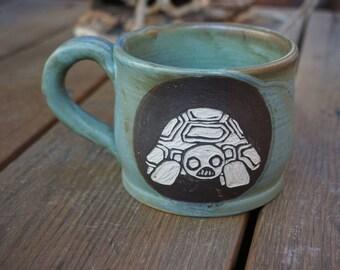 Miffed zombie turtle Sgrafitto Mug