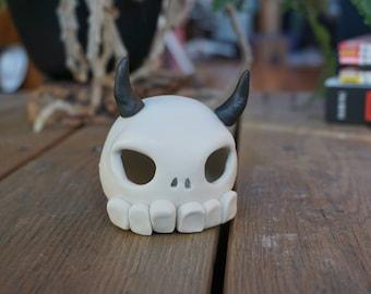 Hand-thrown, Porcelain Skull Art Toy