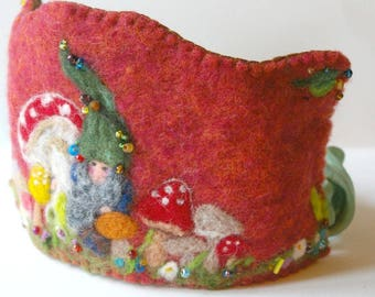 Waldorf Inspired Birthday Crown : Felted Wool Crown, Toadstool Gnome Birthday Party (Custom Made Crown for Woodland Birthday)