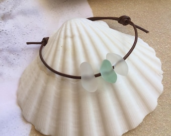 sea glass bracelet ~beach glass bracelet ~adjustable seaglass bracelets ~Hawaiian genuine leather bracelet ~sea glass jewelry ~ beach glass
