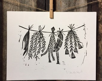 Sacred Herbs and Feathers Linocut Print