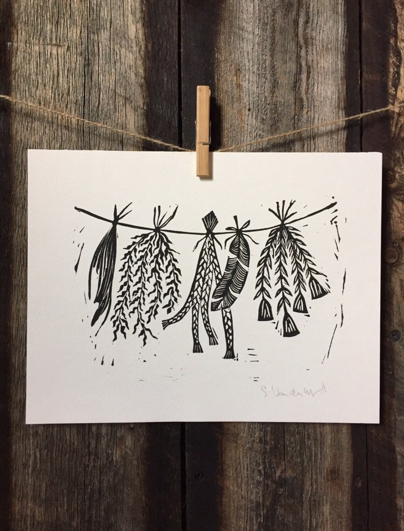 Sacred Herbs and Feathers Linocut Print image 0