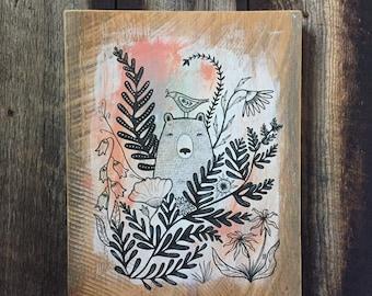 Bear Painting on Salvaged Wood